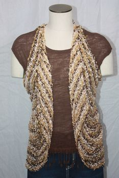 Woven Light Brown/Gold/Cream Stripe Vest/Scarf
