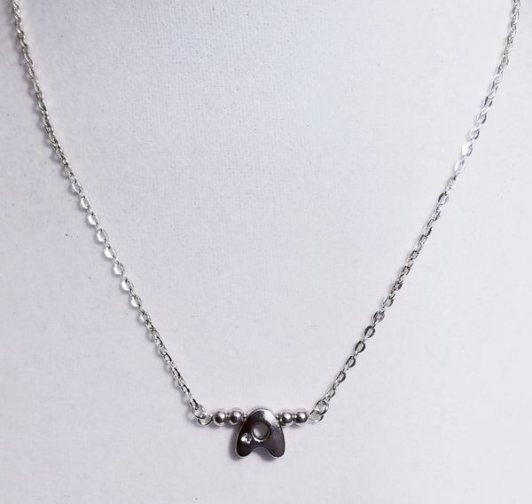 Initial Silver Bar Silver Necklace 16 Inch Chain