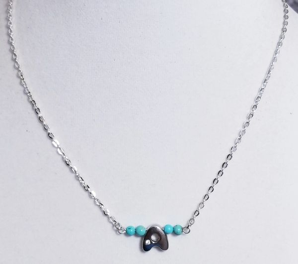 Initial Turquoise Bar Silver Necklace 16 Inch Chain
