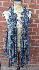 Gray & Black Beaded Fringe Vest One Size