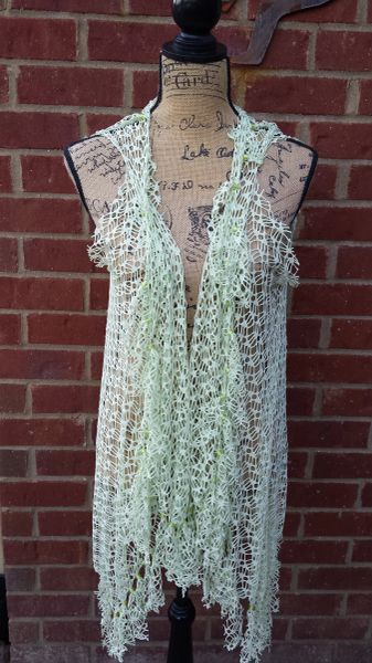 Celery Green Lace Beaded Fringe Vest One Size