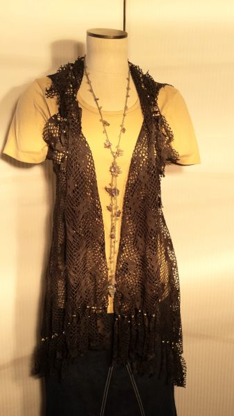 Army Green Lace Beaded Fringe Vest One Size