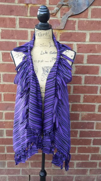 Purple Black Beaded Fringe Vest One Size