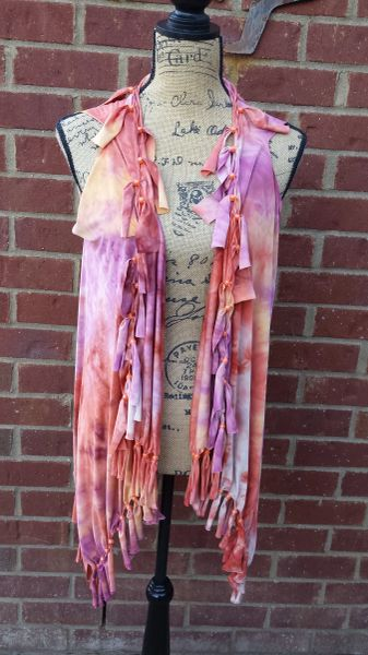 Pink Orange Purple Tiedyed Beaded Fringe Vest One Size