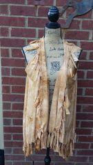 Tan Tiedyed Beaded Fringe Vest One Size