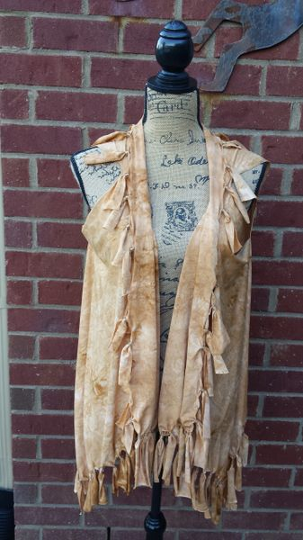 Tan Tiedyed Beaded Fringe Vest One Size