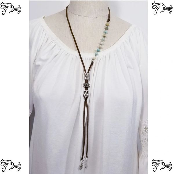 Suede Cord with Amazonite Stone Chain & Charm Accents Necklace 42""