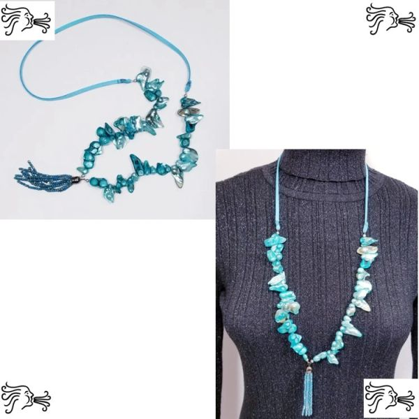 Turquoise Keshi Freshwater Pearl & Suede Necklace with Crystal Tassel