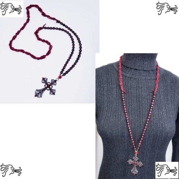Burgundy Freshwater Pearl & Silk Necklace with Rhinestone Cross Pendant