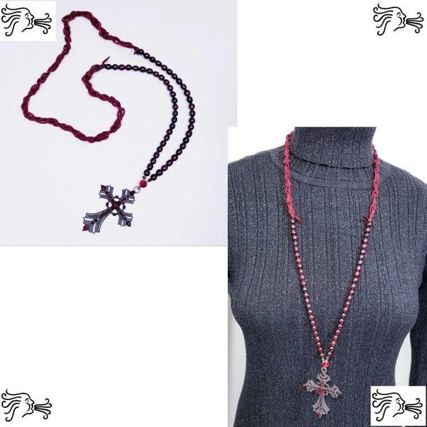 Burgundy Freshwater Pearl & Silk Necklace with Rhinestone Cross Pendant