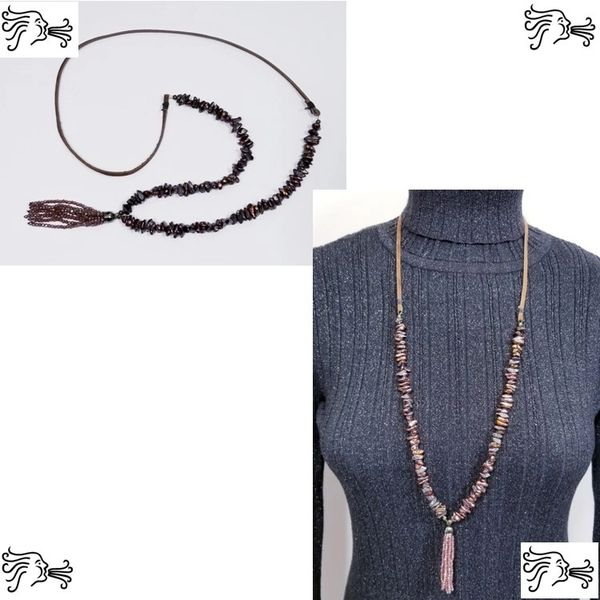 Reddish Purple Iridescent Keshi Freshwater Pearl & Suede Necklace with Crystal Tassel