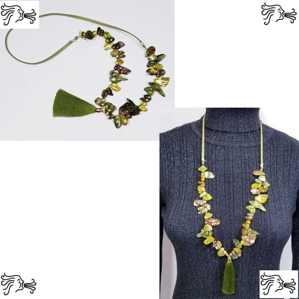 Green Keshi Freshwater Pearl & Suede Necklace with Silk Tassel