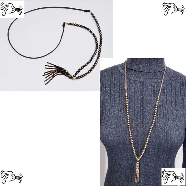 Brown Freshwater Pearl & Suede Necklace with Crystal tassel