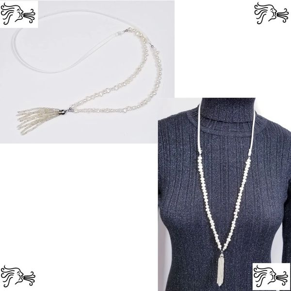 Ivory Freshwater Pearl & Suede Necklace with Crystal tassel