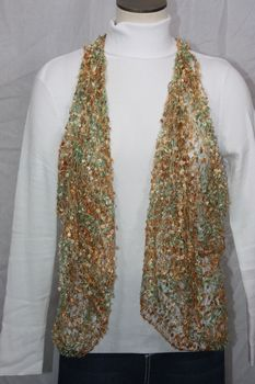 Woven Light Golden Brown/Light Green Vest/Scarf