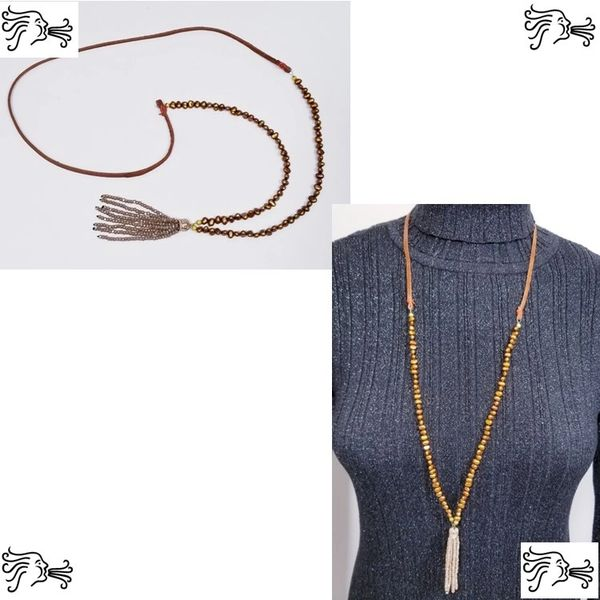 Copper Brown Freshwater Pearl & Suede Necklace with Crystal tassel