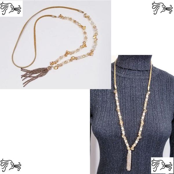Light Brown Crystal & Suede Necklace with Crystal Tassel