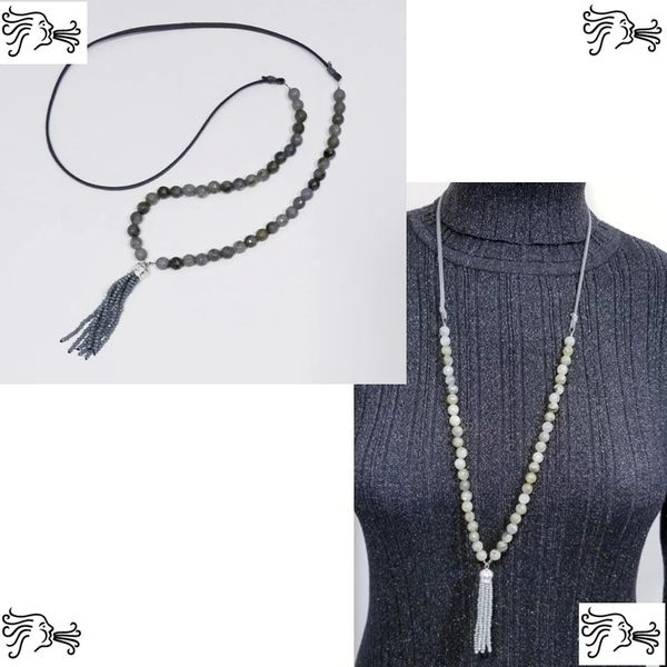Natural Labradorite Stone & Suede Necklace with Crystal Tassel