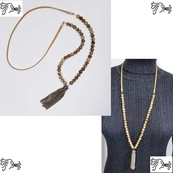 Natural Picture Jasper Stone & Suede Necklace with Crystal Tassel
