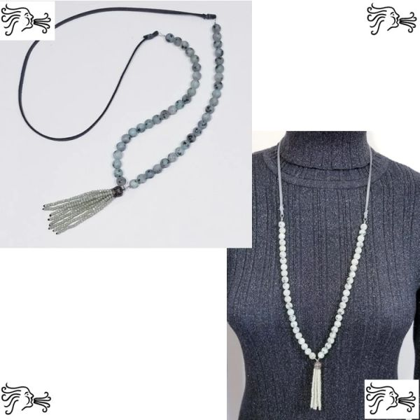 Natural Sesame Jasper Stone & Suede Necklace with Crystal Tassel
