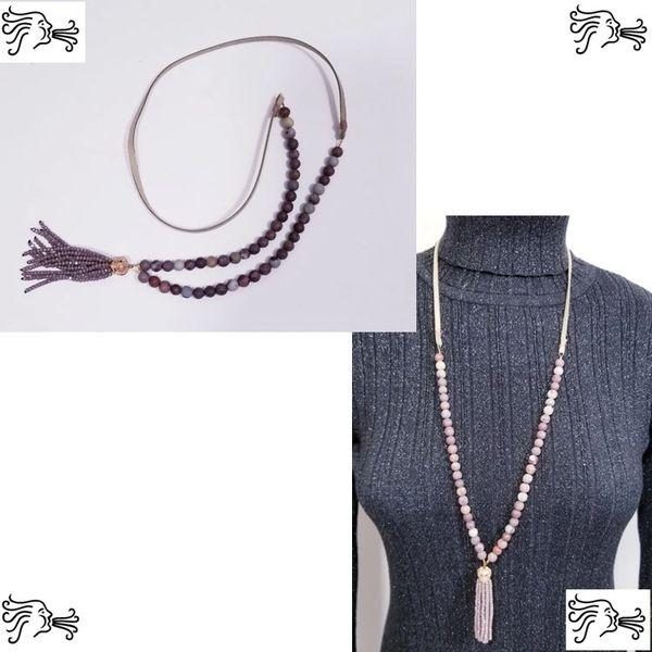 Fancy Jasper Stone & Suede Necklace with Crystal Tassel