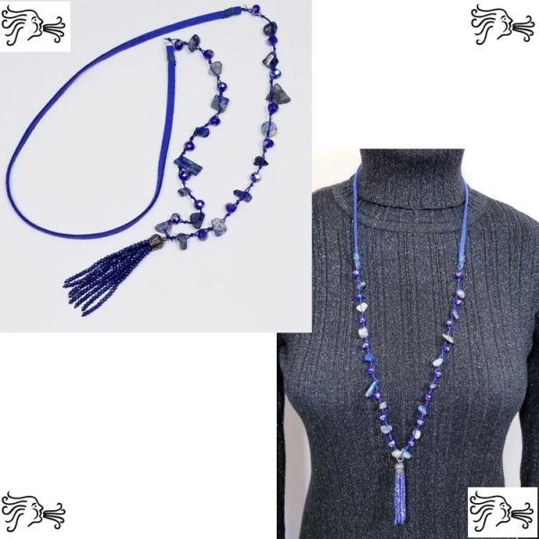 Blue Sodalite Knotted Stone & Crystal Suede Necklace with Crystal Tassel