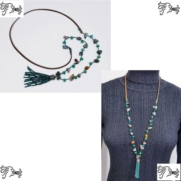 Green Stone & Crystal Knotted & Suede Necklace with Crystal Tassel