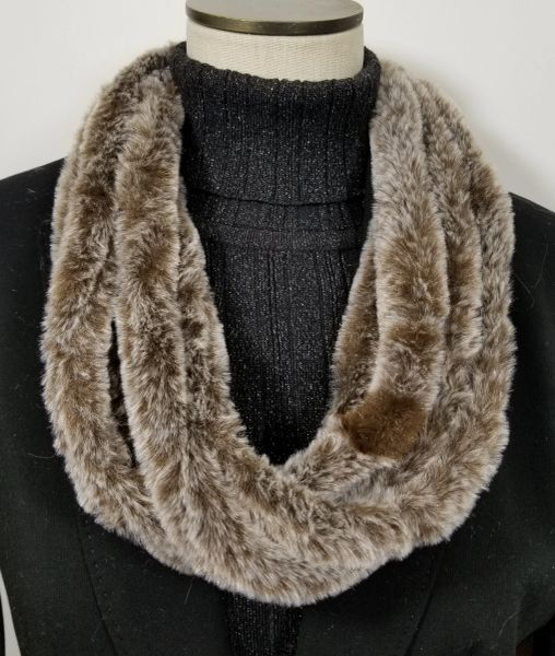 Dark Brown Faux Fur Necklace Infinity Scarf Magnetic Clasp Accessory