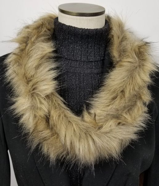 Natural Fox Faux Fur Necklace Infinity Scarf Magnetic Clasp Accessory
