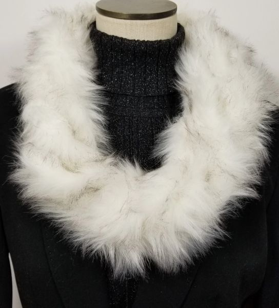 White Fox Faux Fur Necklace Infinity Scarf Magnetic Clasp Accessory