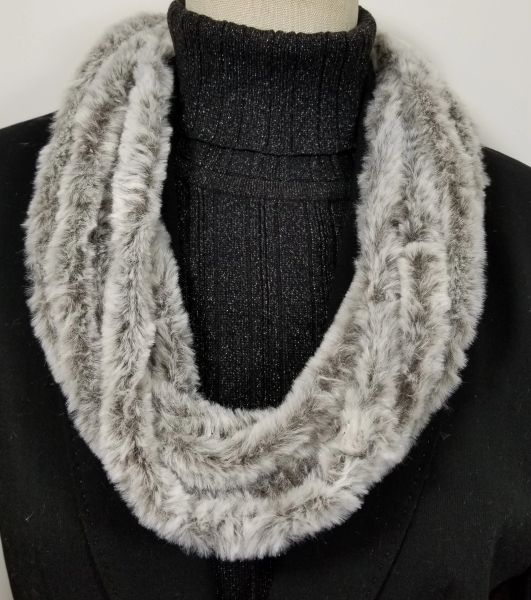 Solid Brown Soft Faux Fur Necklace Infinity Scarf Magnetic Clasp Accessory