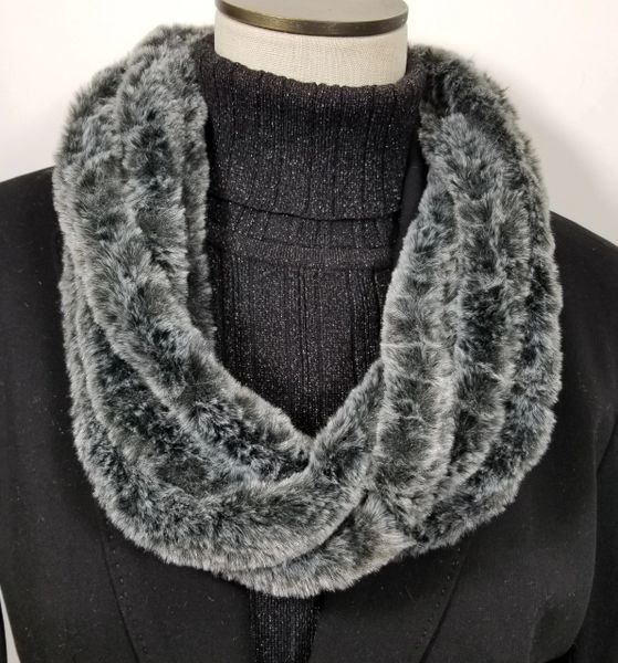 Solid Charcoal Gray Soft Faux Fur Necklace Infinity Scarf Magnetic Clasp
