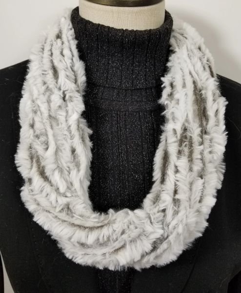 White & Brown Soft Faux Fur Necklace Infinity Scarf Magnetic Clasp