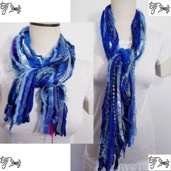 "Yarn Tied Scarf 60"" Royal Blue Mix"