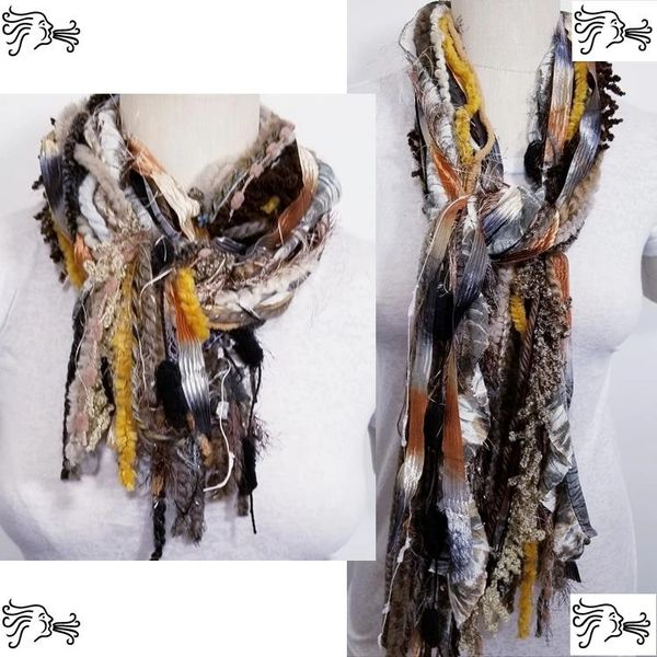 "Yarn Tied Scarf 60"" Brown Mix"