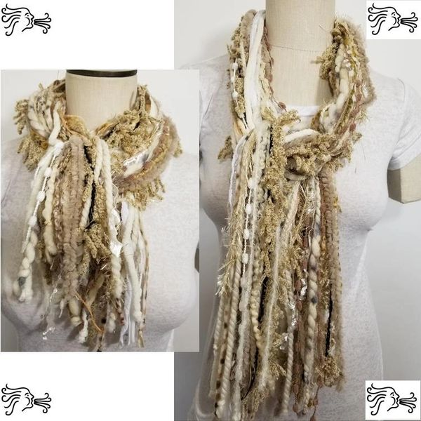 "Yarn Tied Scarf 60"" Cream Light Brown Mix"
