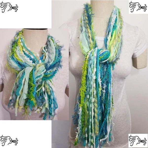 "Yarn Tied Scarf 60"" Aqua Blue Mix"