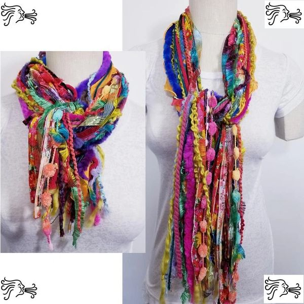 "Yarn Tied Scarf 60"" Multicolored Mix"