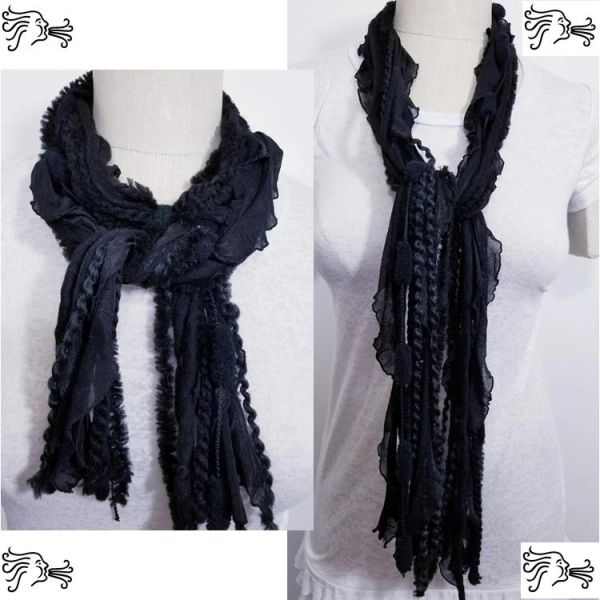 "Yarn Tied Scarf 60"" Black Mix"