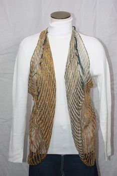 Woven Light Brown/White/Gold Lurex Vest/Scarf