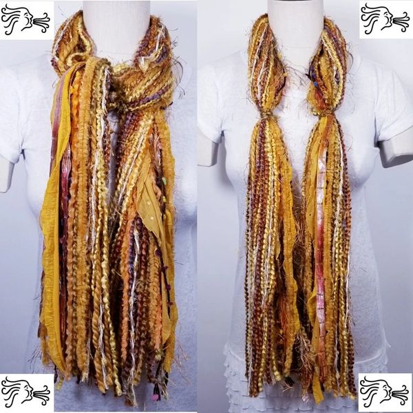 """Yarn Tied Scarf 60"""" Gold Hint of Purple Mix"""