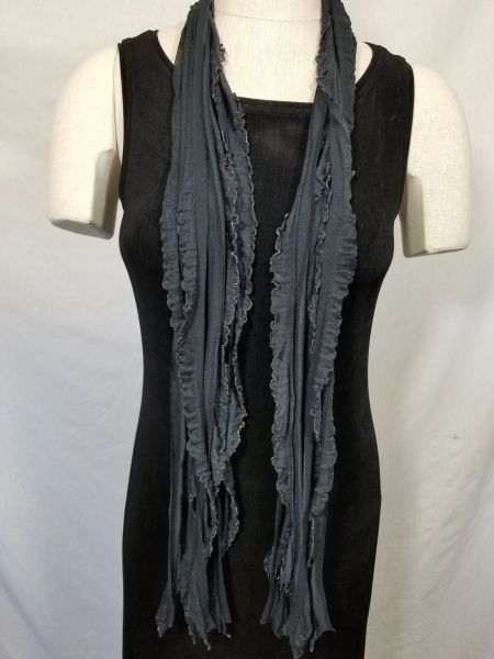 Black with Silver Edge Flutter Scarf