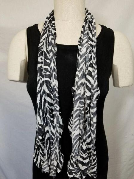 Black White Zebra Pattern Flutter Scarf