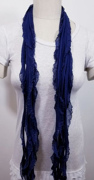 Navy Blue Silver Edge Flutter Scarf