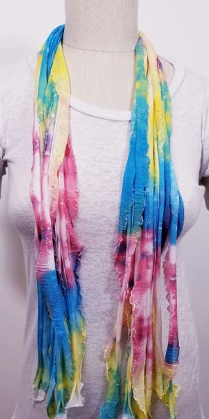 Turquoise Pink Yellow Flutter Scarf