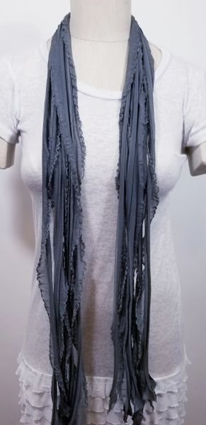 Gray with Silver Edge Flutter Scarf
