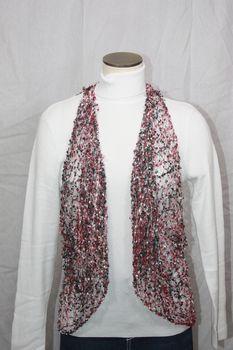 Woven Black/Burgandy/Pink Vest/Scarf