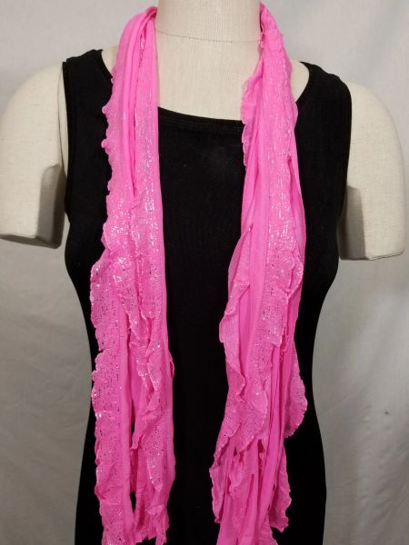 Bubblegum Pink with Silver Dots Flutter Scarf