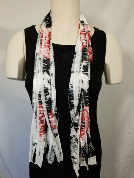 Red Black White Floral Flutter Scarf