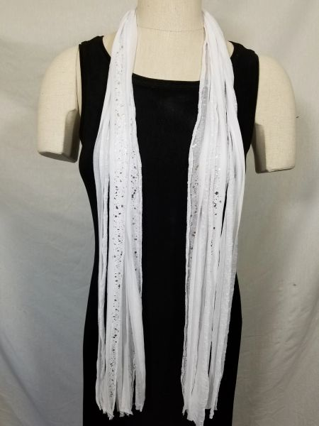 White with Silver Foil Flutter Scarf